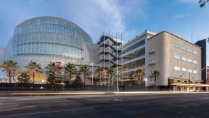 The exterior of the new Academy Museum, located at the northeast corner of Fairfax Avenue and Wilshire Boulevard.