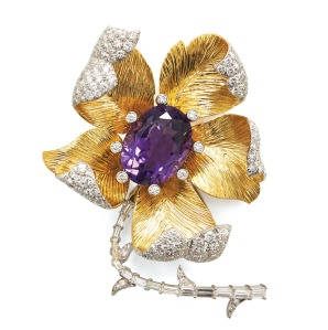 David Webb: An oval-cut amethyst is showcased in a gold and platinum flower brooch with diamonds; $48,000, at David Webb, BeverlyHills.