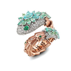 Bulgari: Serpenti pink and white gold ring with Paraiba tourmalines (2.74 carats), emeralds and diamonds; price upon request, at Bulgari, Beverly Hills