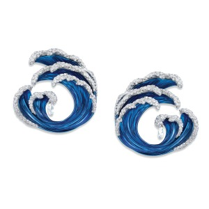 Chopard: Wave earrings with two diamond briolettes (1.86 carats) set in ethical Fairmined white gold and titanium; price upon request, atChopard, South Coast Plaza, Costa Mesa.