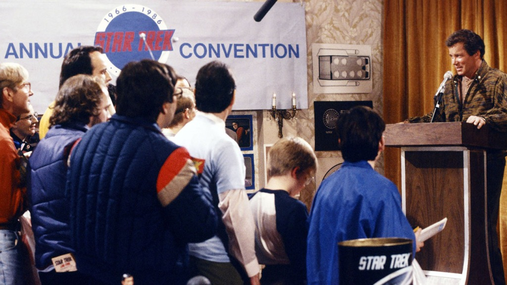 """Saturday Night Live - William Shatner as himself (far right) during the """"16th Annual Star Trek Convention"""" Saturday Night Live skit on Dec. 20, 1986."""
