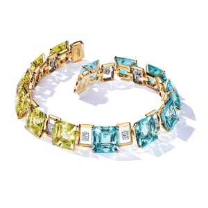 Tiffany & Co.: Aquamarines, yellow beryls and diamonds are set in 18-karat gold and platinum in this sea-inspired necklace; price upon request, at Tiffany & Co., Beverly Hills.