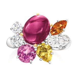 Harry Winston: Floral-inspired Cluster ring featuring rubellite, pink and yellow sapphires, spessartite garnet and diamonds; price upon request, at Harry Winston, Beverly Hills.