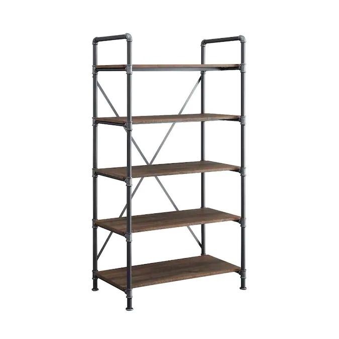 Allen + Roth Distressed Brown Metal 5-Shelf Bookcase