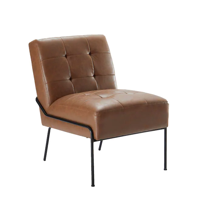 eLuxury Modern Brown Faux Leather Accent Chair