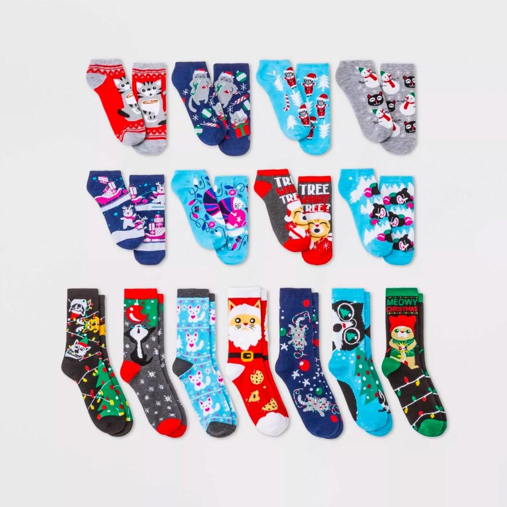 Women's Holiday Cat Socks Advent Calendar