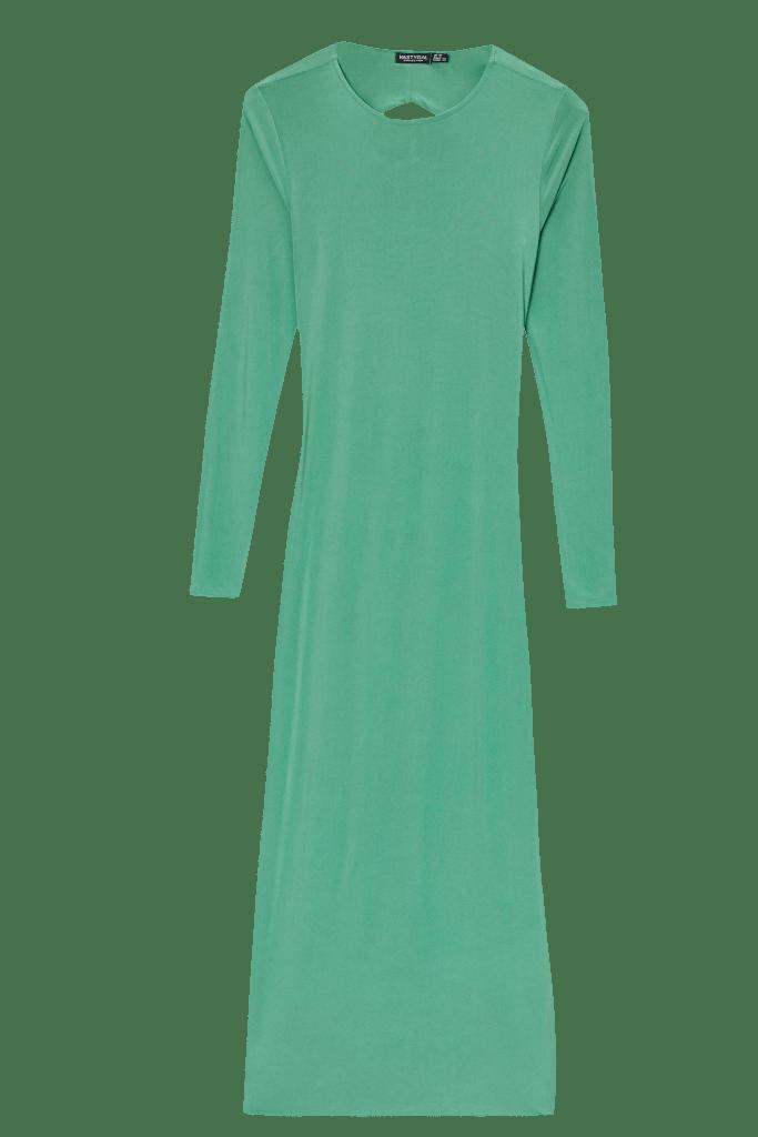 Nasty Gal x Maeve Reilly Slinky Open Back Long-Sleeve Midi Dress