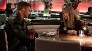 Anne (Michelle Williams) tells Eddie (Tom Hardy) she is engaged in VENOM: LET THERE BE CARNAGE.