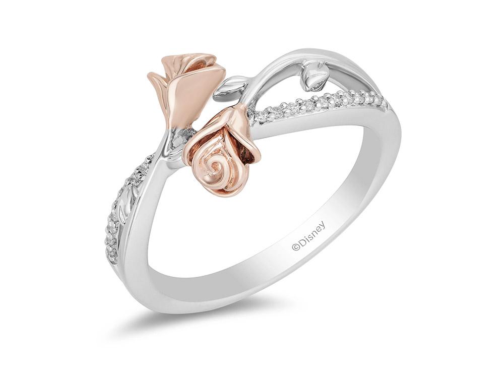 Enchanted Disney Fine Jewelry Belle 14-Karat Rose Gold Over Sterling Silver Ring
