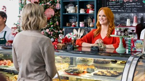 Molly McCook as Molly Gallant, and Ree Drummond as Bee in discovery+'s Candy Coated Christmas.