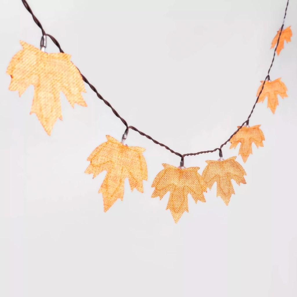 LED Burlap Leaf Halloween String Lights